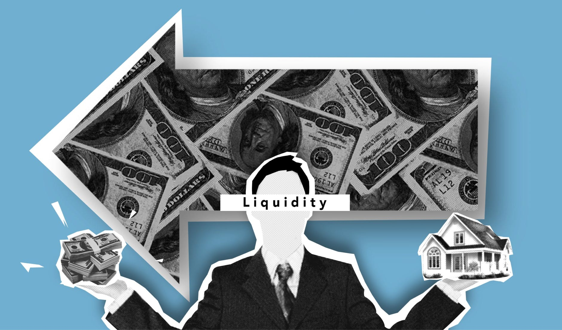 businessman showing liquidity of real estate sales and profit